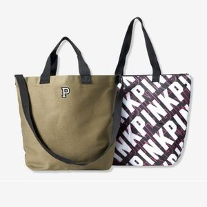 VS Pink 2-in-1 army green tote with cooler insert